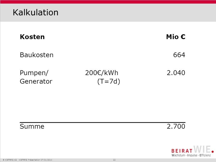 Kalkulation Kosten Mio € Baukosten 664 Pumpen/ Generator 200 €/kWh