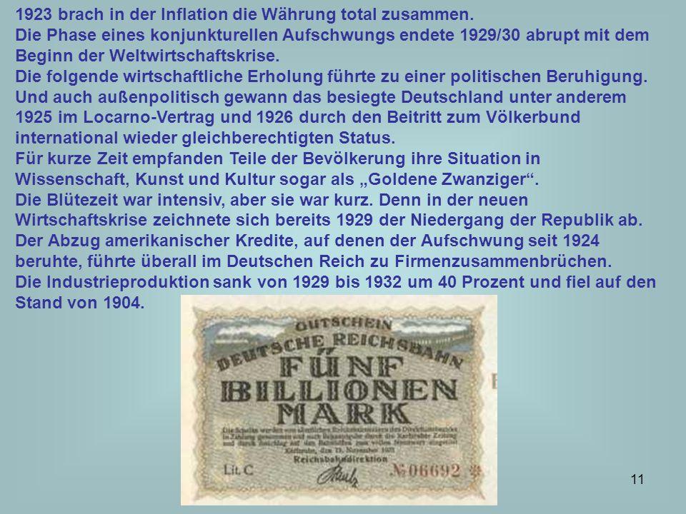 1923 brach in der Inflation die Währung total zusammen.