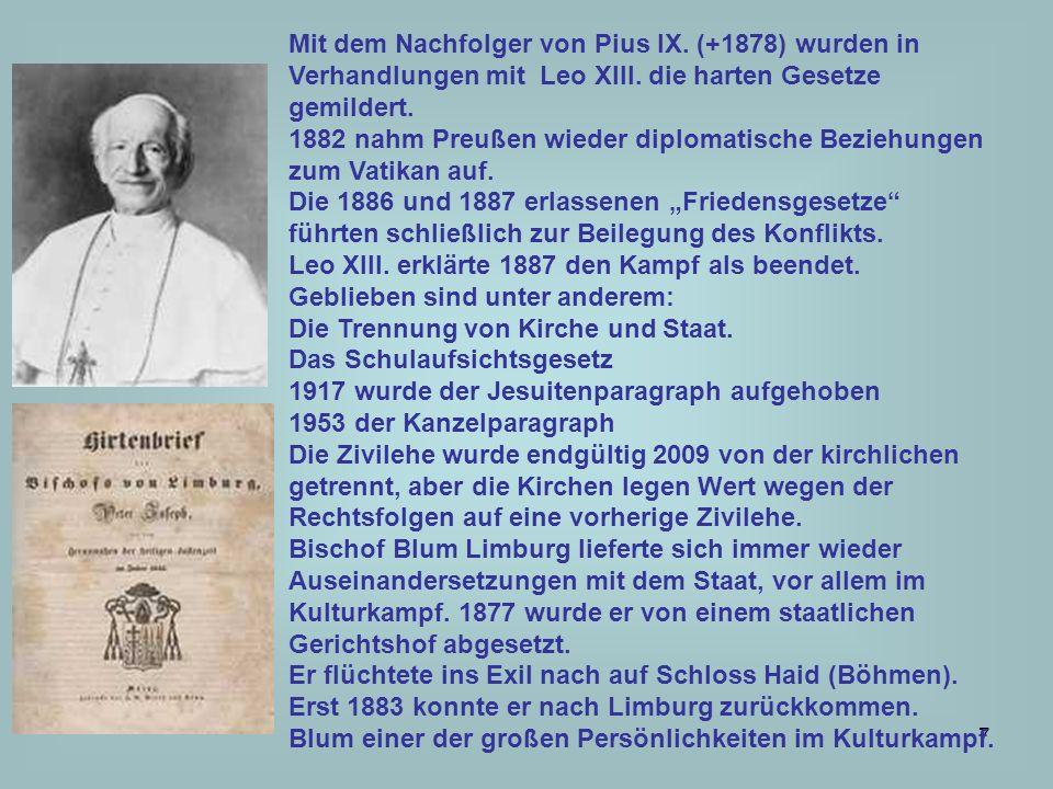 Mit dem Nachfolger von Pius IX