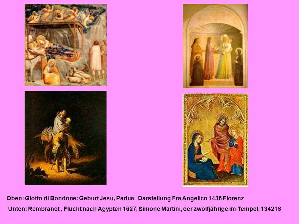 Oben: Giotto di Bondone: Geburt Jesu, Padua , Darstellung Fra Angelico 1436 Florenz