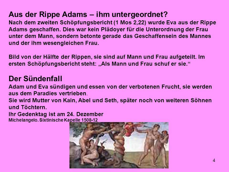 Aus der Rippe Adams – ihm untergeordnet