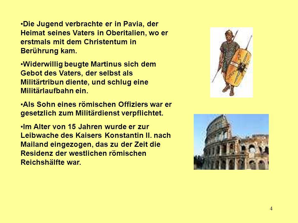Die Jugend verbrachte er in Pavia, der Heimat seines Vaters in Oberitalien, wo er erstmals mit dem Christentum in Berührung kam.