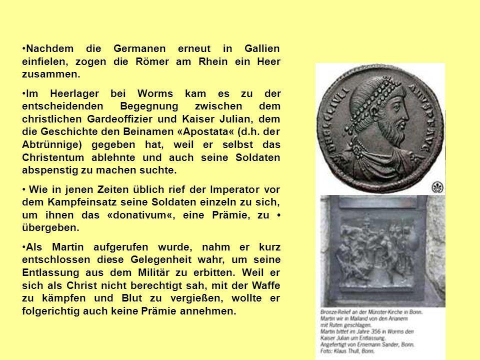 Nachdem die Germanen erneut in Gallien einfielen, zogen die Römer am Rhein ein Heer zusammen.