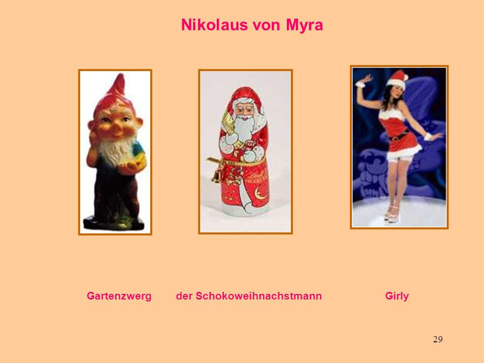 Nikolaus von Myra Gartenzwerg der Schokoweihnachstmann Girly