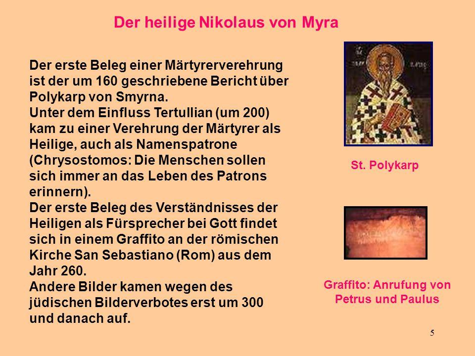 Der heilige Nikolaus von Myra Graffito: Anrufung von Petrus und Paulus