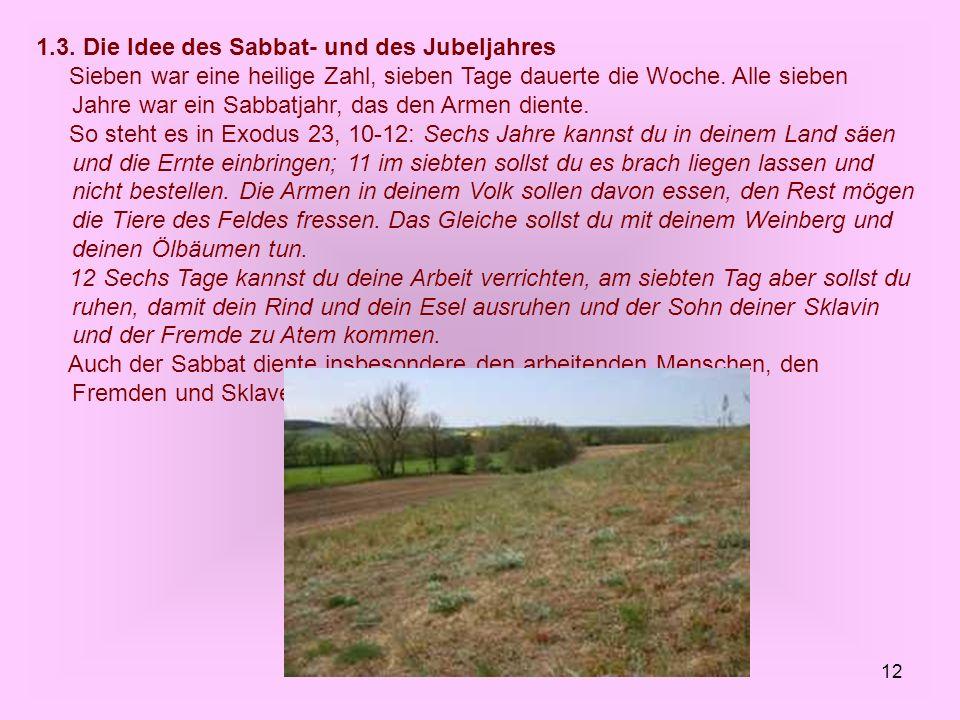 1.3. Die Idee des Sabbat- und des Jubeljahres