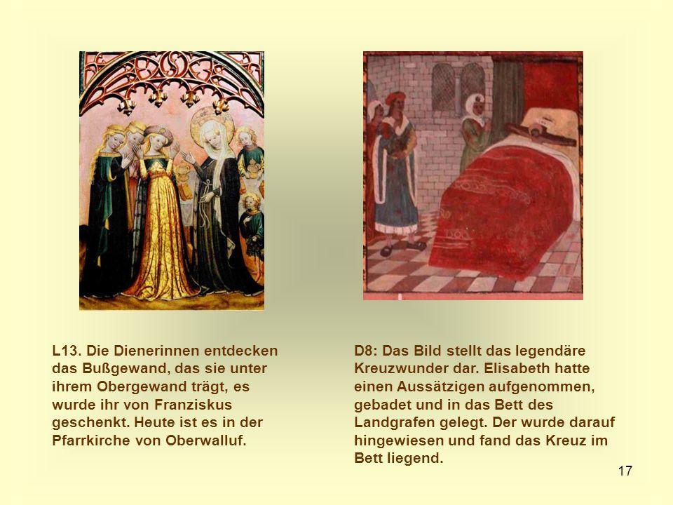 L13. Die Dienerinnen entdecken das Bußgewand, das sie unter ihrem Obergewand trägt, es wurde ihr von Franziskus geschenkt. Heute ist es in der Pfarrkirche von Oberwalluf.
