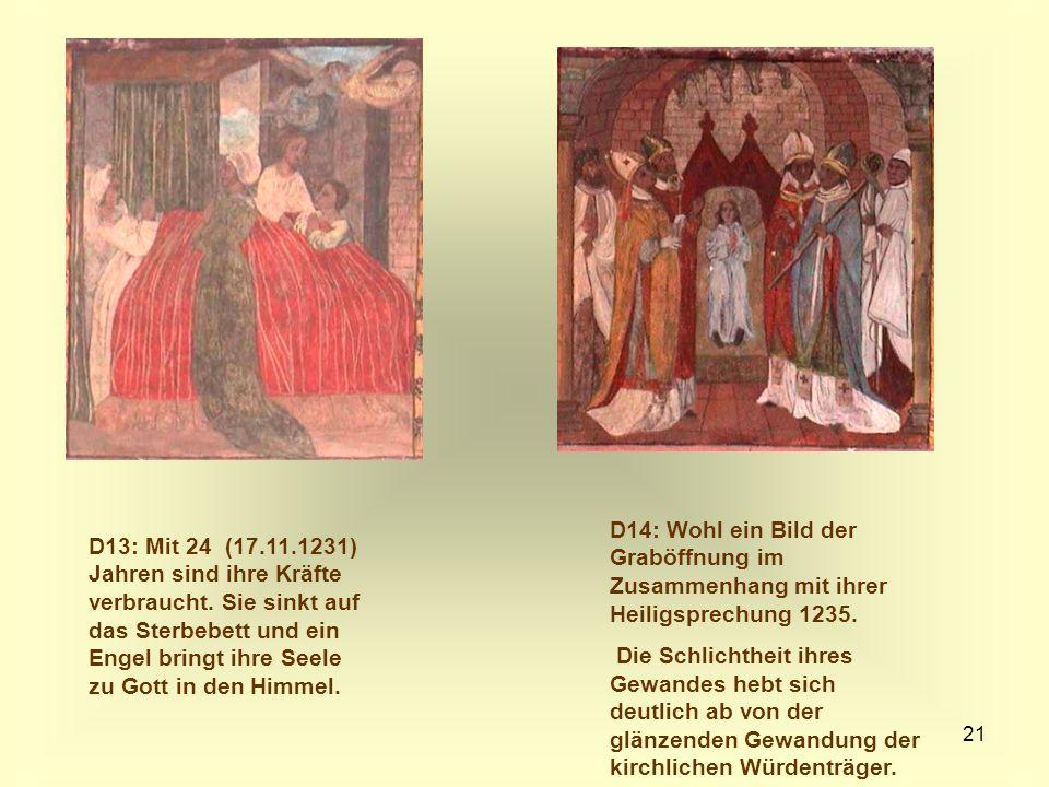 D14: Wohl ein Bild der Graböffnung im Zusammenhang mit ihrer Heiligsprechung 1235.