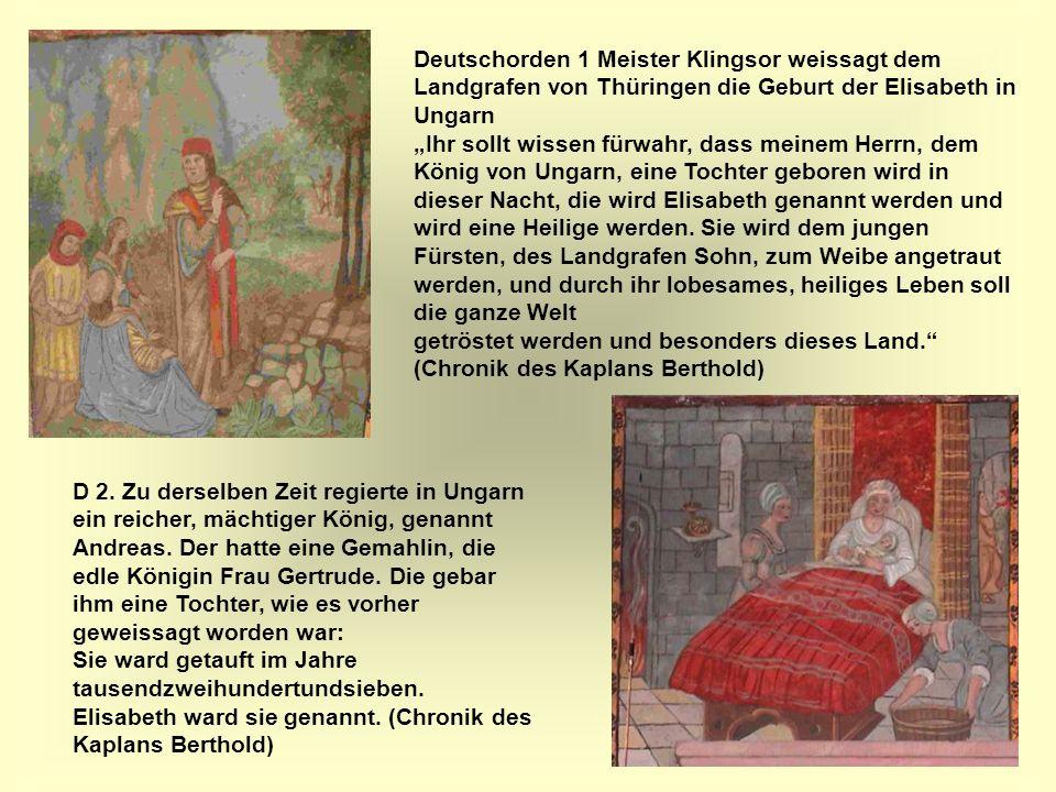 Deutschorden 1 Meister Klingsor weissagt dem Landgrafen von Thüringen die Geburt der Elisabeth in Ungarn
