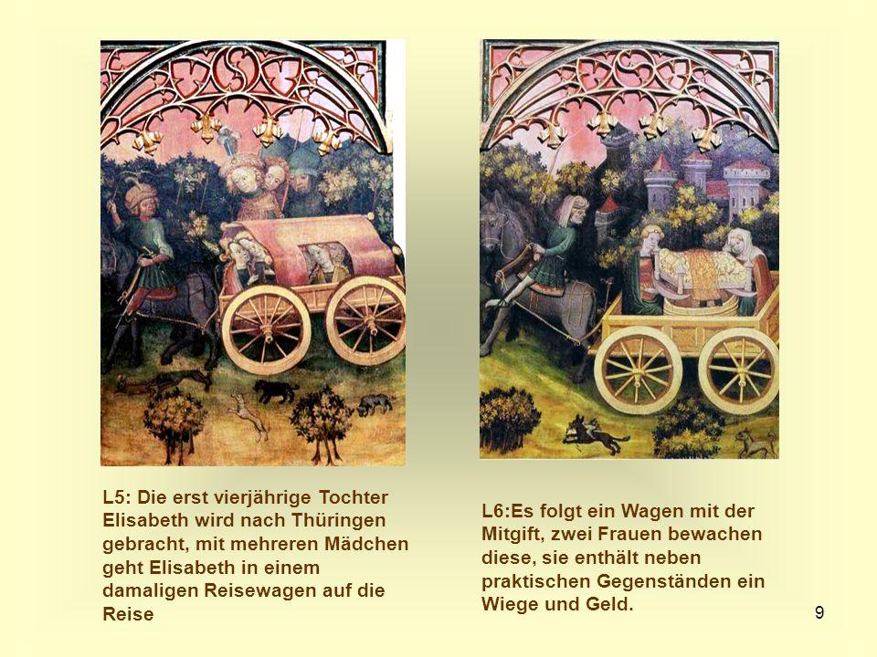 L5: Die erst vierjährige Tochter Elisabeth wird nach Thüringen gebracht, mit mehreren Mädchen geht Elisabeth in einem damaligen Reisewagen auf die Reise