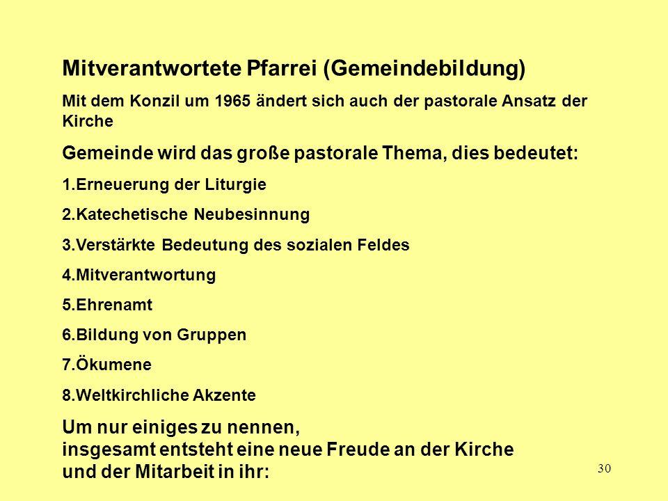 Mitverantwortete Pfarrei (Gemeindebildung)