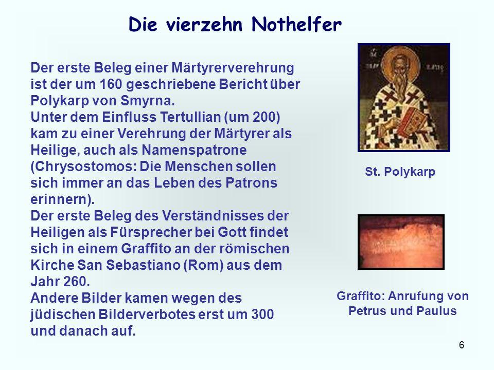 Die vierzehn Nothelfer Graffito: Anrufung von Petrus und Paulus
