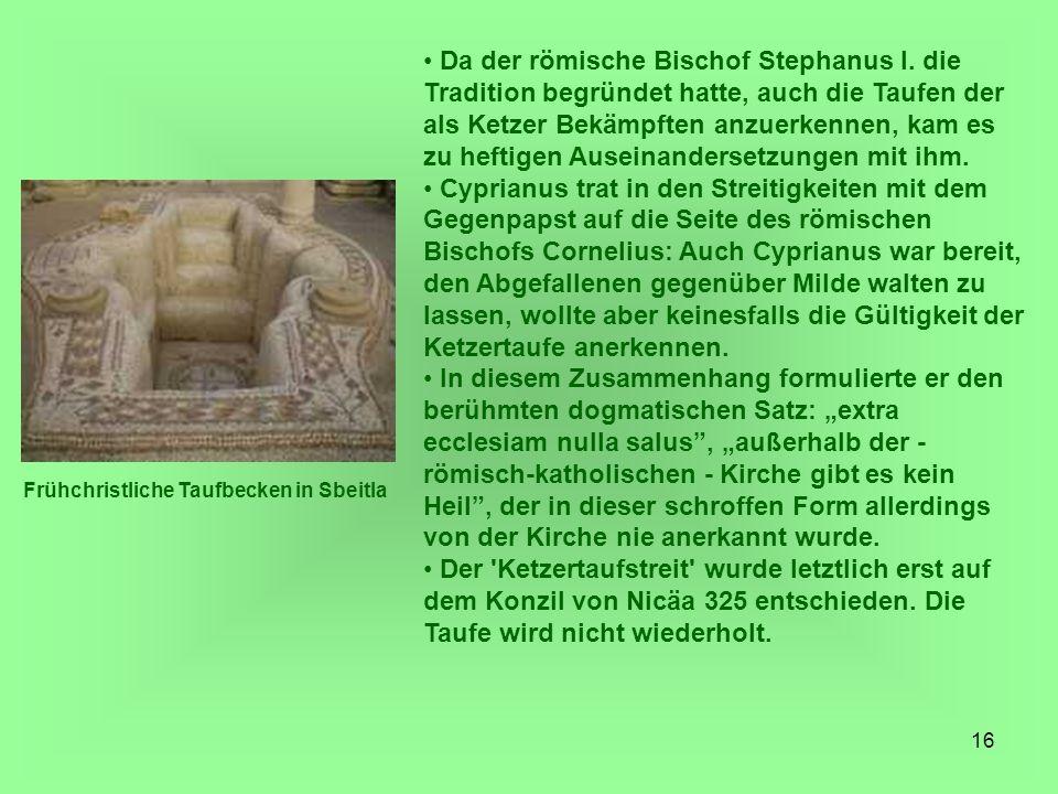 Da der römische Bischof Stephanus I