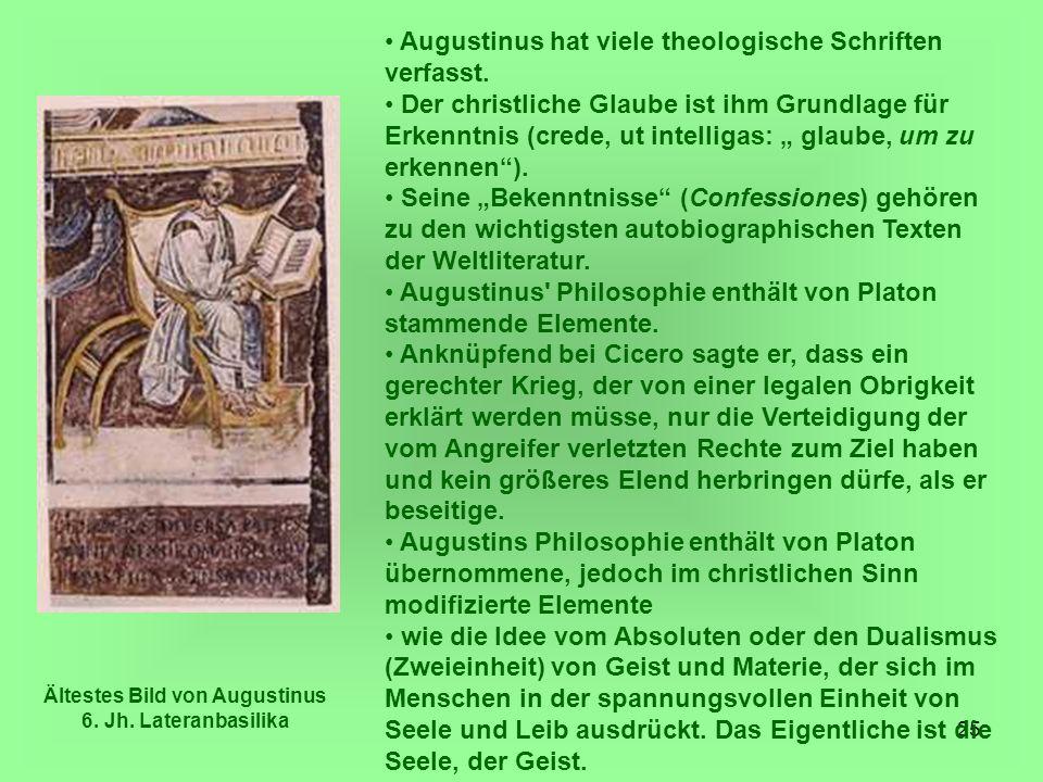 Ältestes Bild von Augustinus 6. Jh. Lateranbasilika