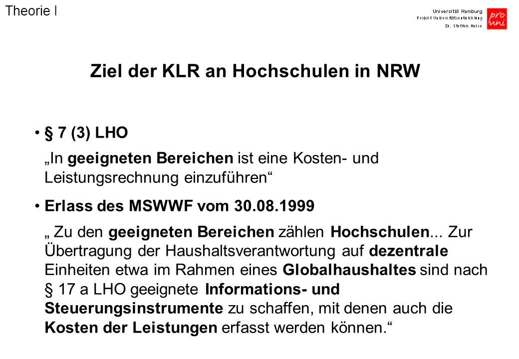 Ziel der KLR an Hochschulen in NRW