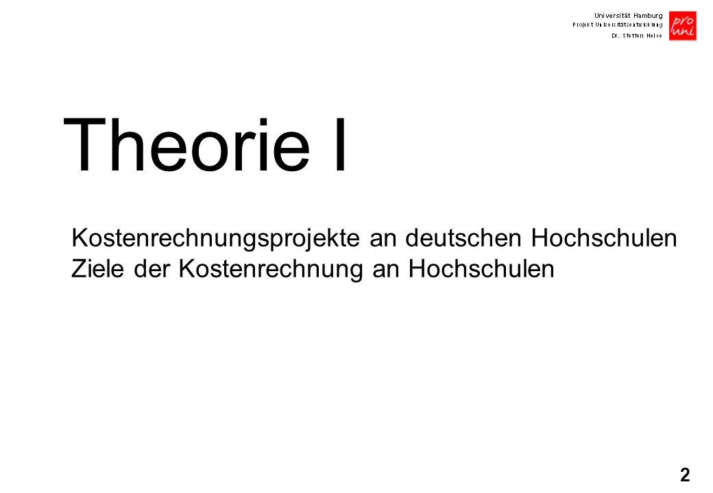 Theorie I Kostenrechnungsprojekte an deutschen Hochschulen