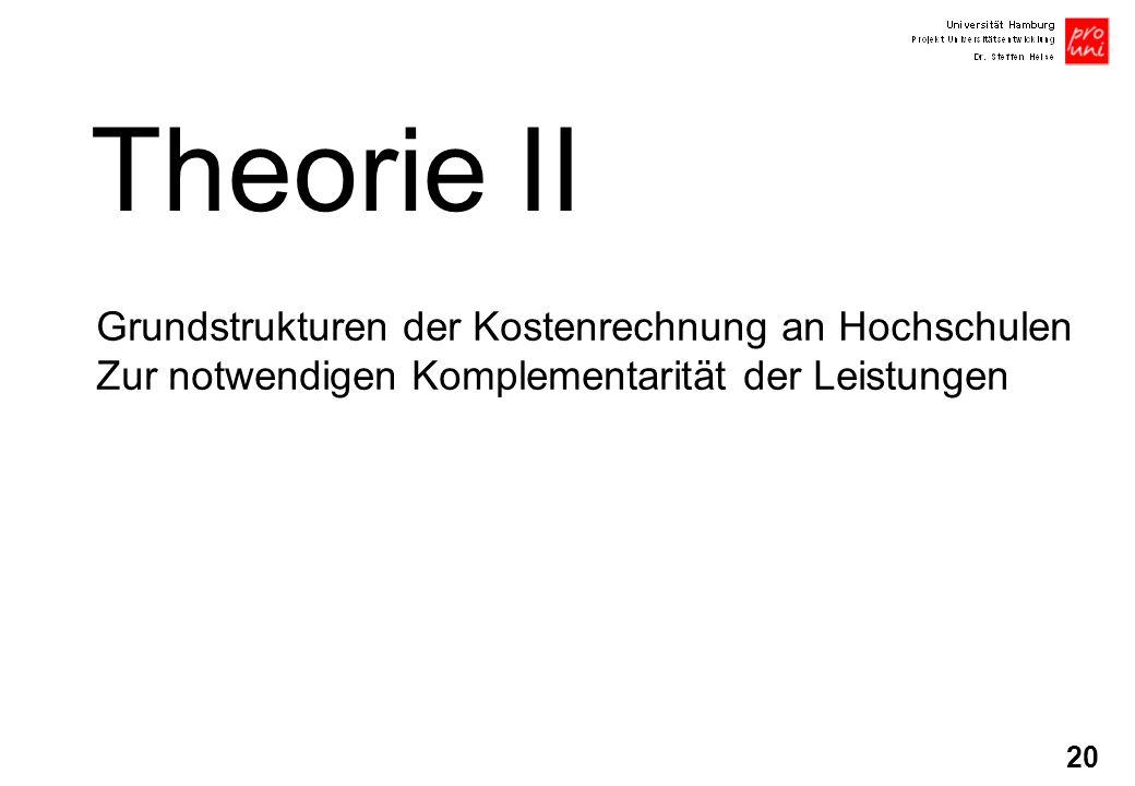 Theorie II Grundstrukturen der Kostenrechnung an Hochschulen