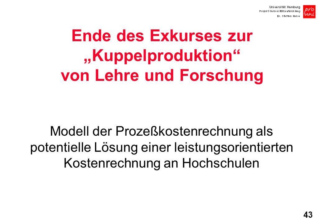 """Ende des Exkurses zur """"Kuppelproduktion von Lehre und Forschung"""