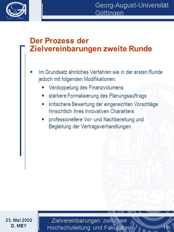 Der Prozess der Zielvereinbarungen zweite Runde