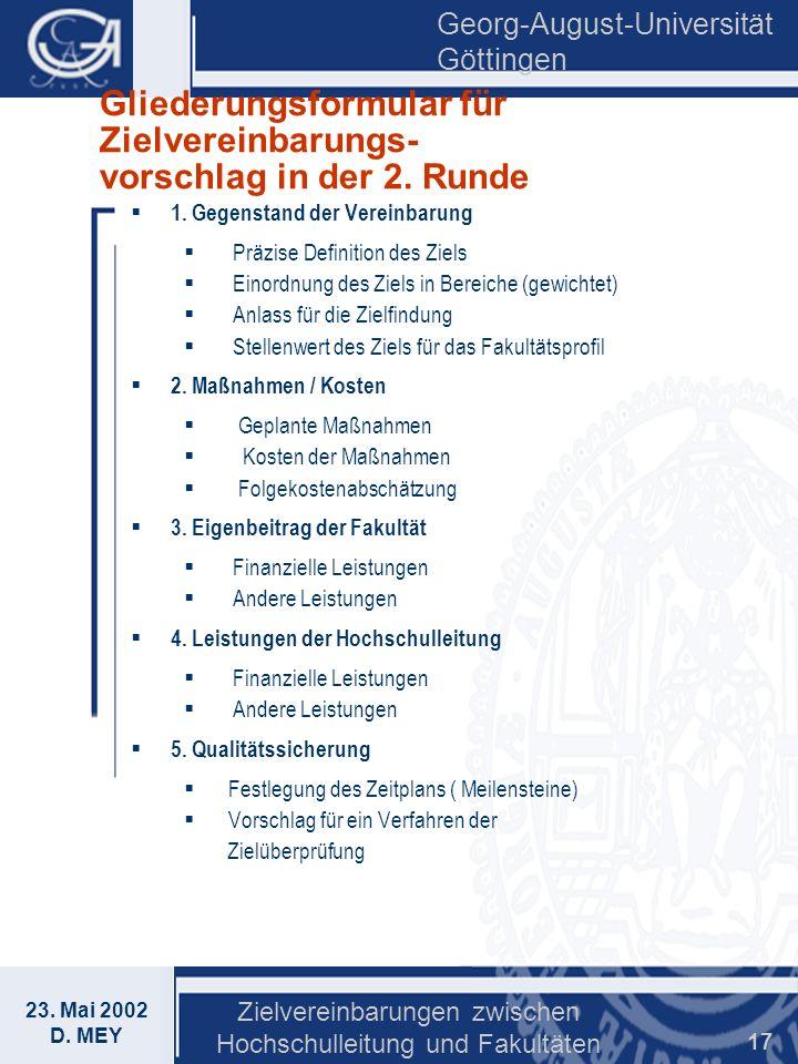 Gliederungsformular für Zielvereinbarungs- vorschlag in der 2. Runde