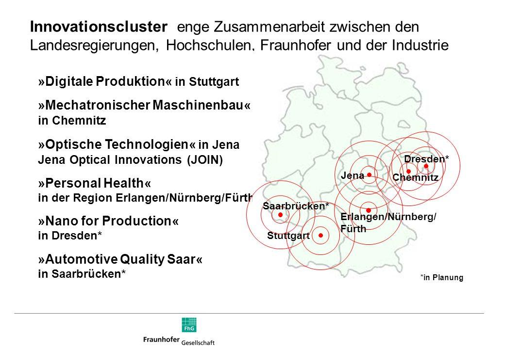 Innovationscluster  enge Zusammenarbeit zwischen den Landesregierungen, Hochschulen, Fraunhofer und der Industrie