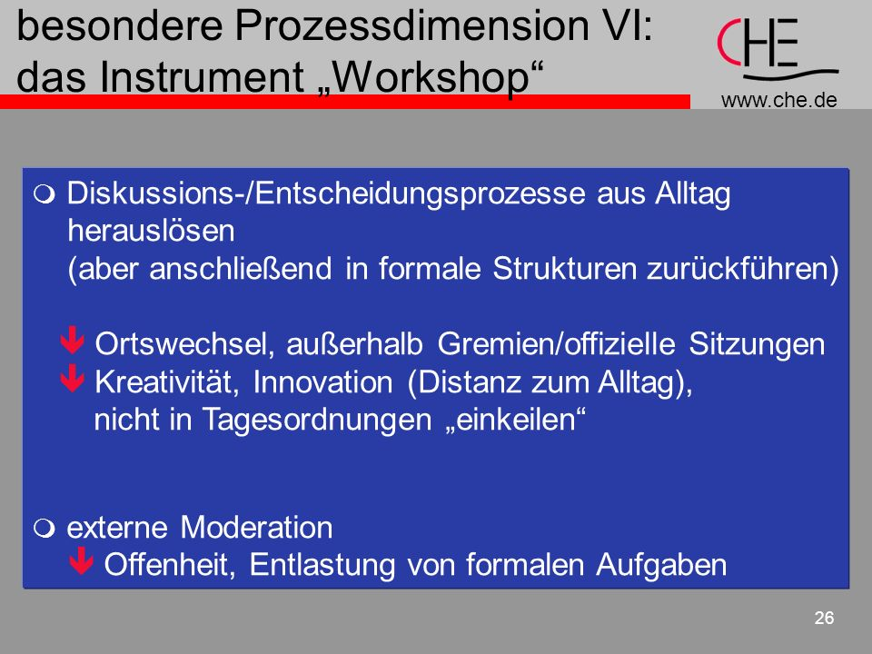 "besondere Prozessdimension VI: das Instrument ""Workshop"