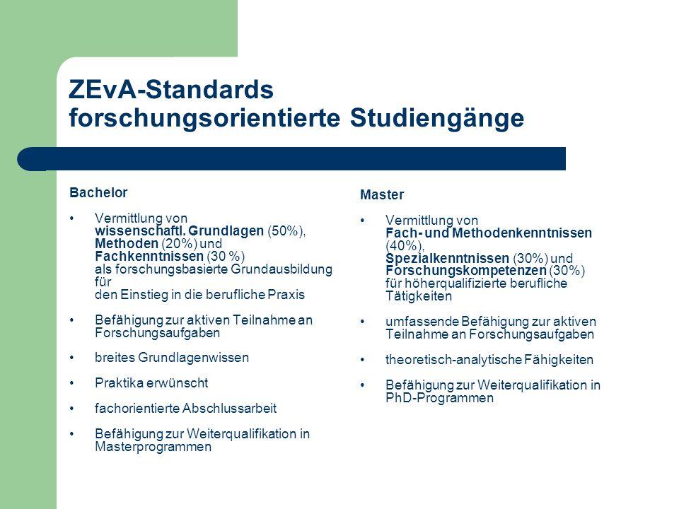 ZEvA-Standards forschungsorientierte Studiengänge