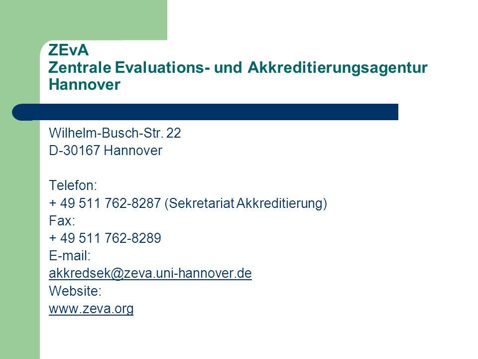 ZEvA Zentrale Evaluations- und Akkreditierungsagentur Hannover