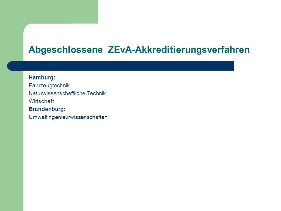 Abgeschlossene ZEvA-Akkreditierungsverfahren