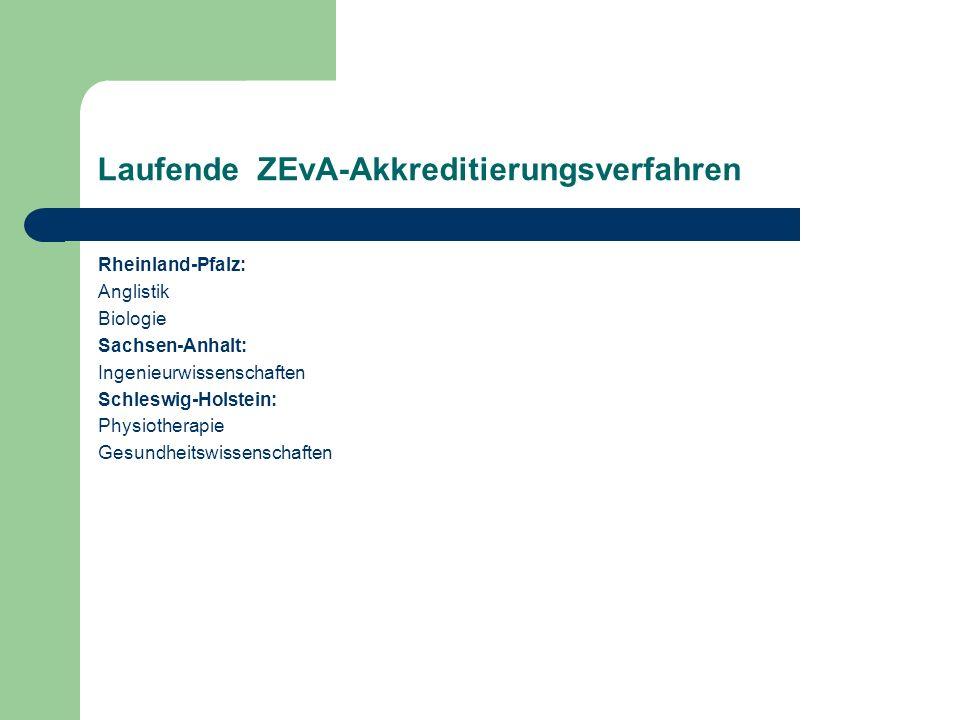 Laufende ZEvA-Akkreditierungsverfahren