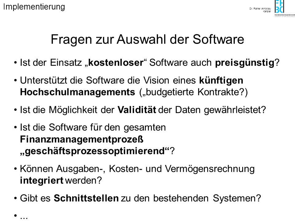 Fragen zur Auswahl der Software