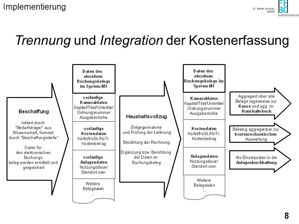 Trennung und Integration der Kostenerfassung
