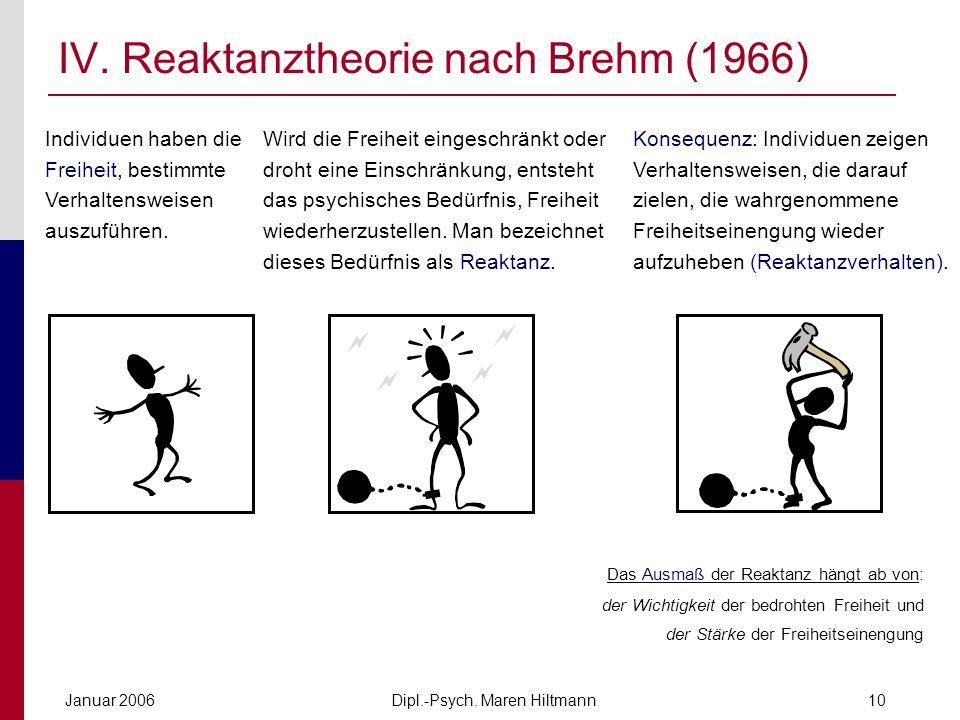 IV. Reaktanztheorie nach Brehm (1966)