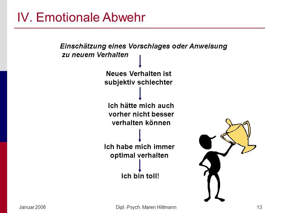 IV. Emotionale Abwehr Einschätzung eines Vorschlages oder Anweisung zu neuem Verhalten. Neues Verhalten ist subjektiv schlechter.