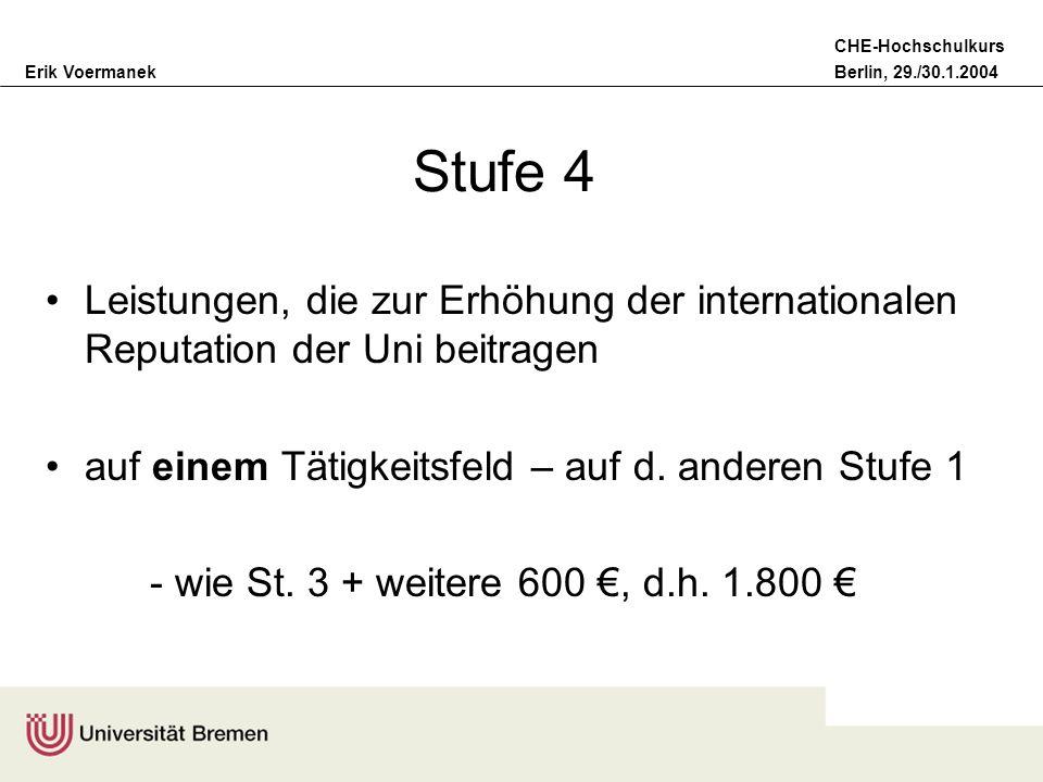 Stufe 4Leistungen, die zur Erhöhung der internationalen Reputation der Uni beitragen. auf einem Tätigkeitsfeld – auf d. anderen Stufe 1.