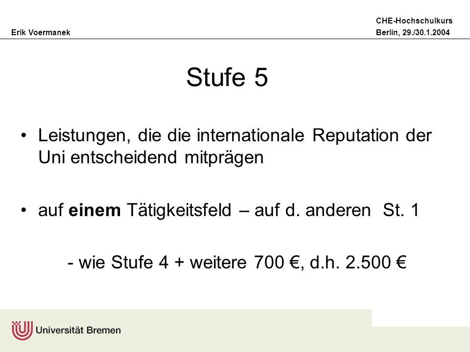 Stufe 5Leistungen, die die internationale Reputation der Uni entscheidend mitprägen. auf einem Tätigkeitsfeld – auf d. anderen St. 1.