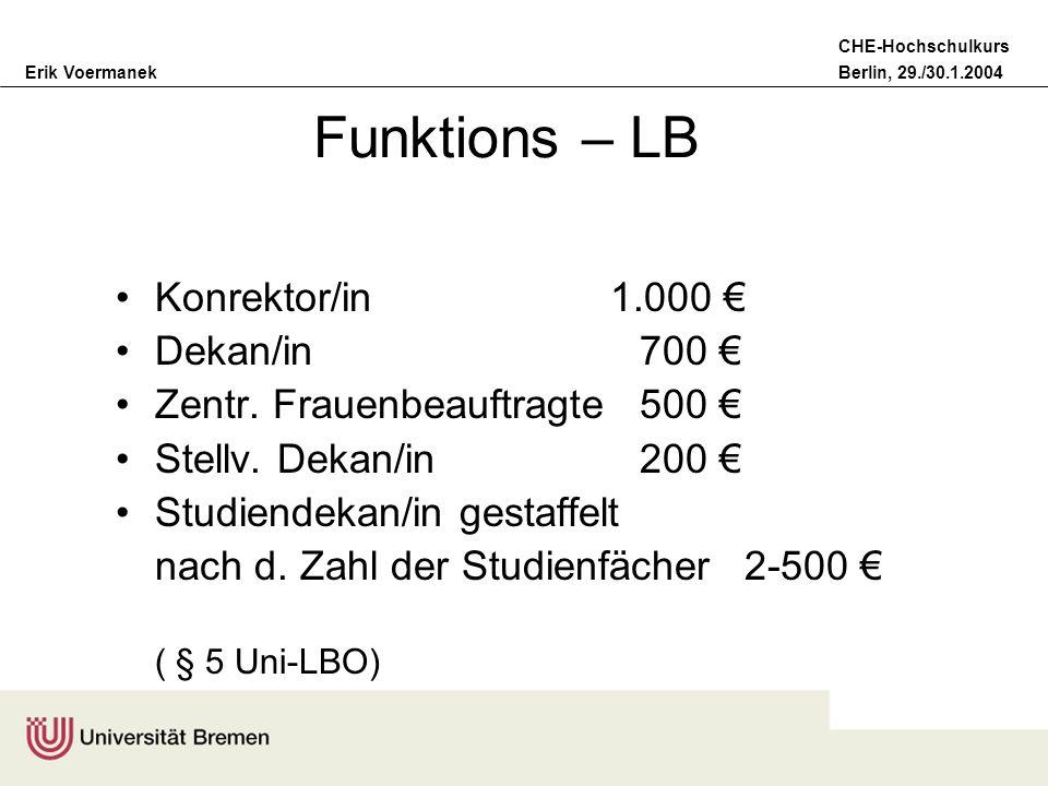 Funktions – LB Konrektor/in 1.000 € Dekan/in 700 €