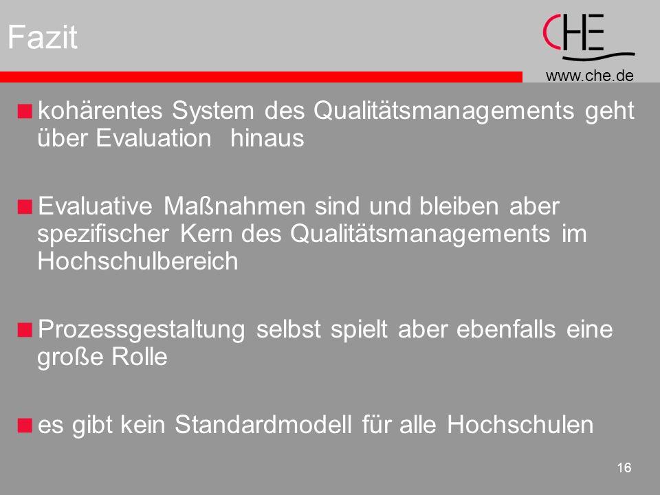 Fazit kohärentes System des Qualitätsmanagements geht über Evaluation hinaus.