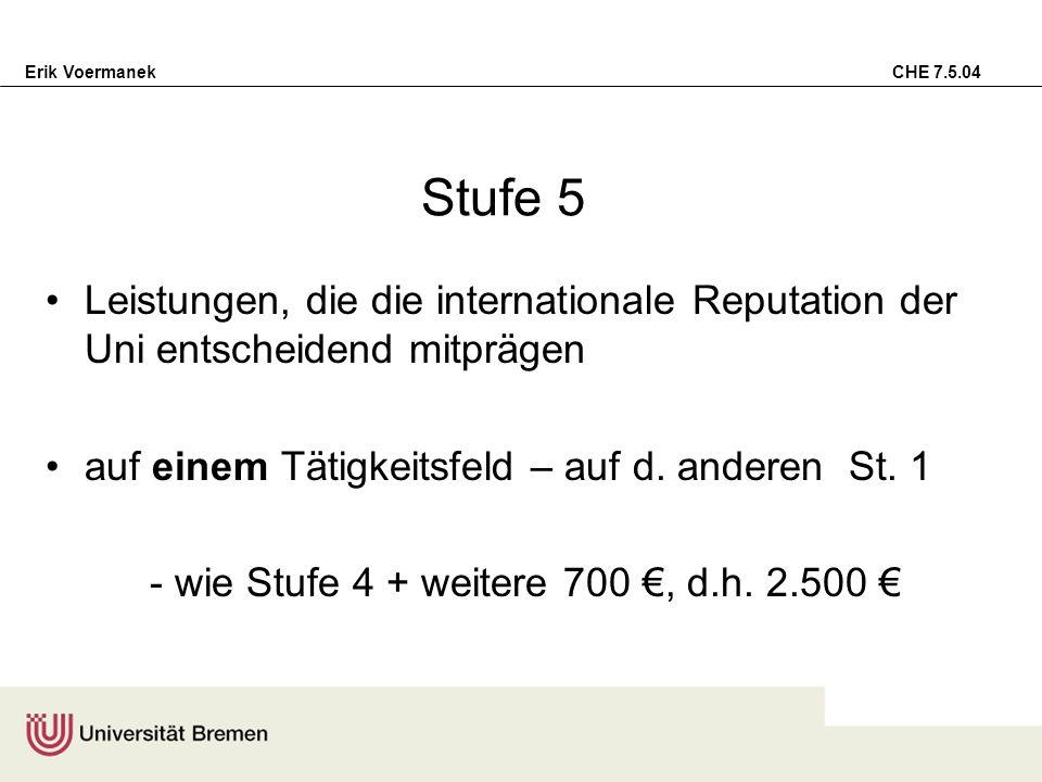 Stufe 5 Leistungen, die die internationale Reputation der Uni entscheidend mitprägen. auf einem Tätigkeitsfeld – auf d. anderen St. 1.