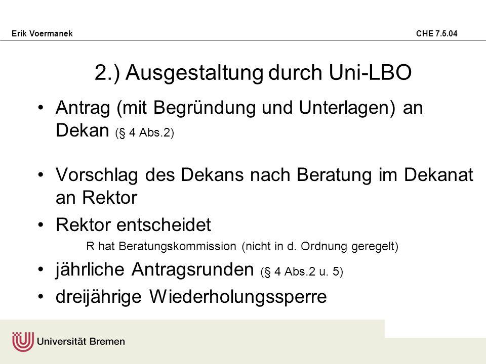 2.) Ausgestaltung durch Uni-LBO