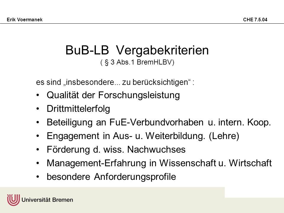 BuB-LB Vergabekriterien ( § 3 Abs.1 BremHLBV)
