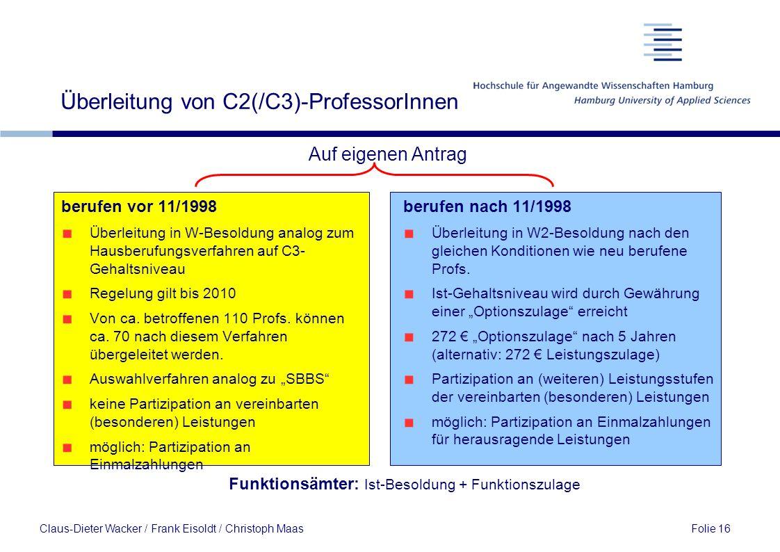 Überleitung von C2(/C3)-ProfessorInnen