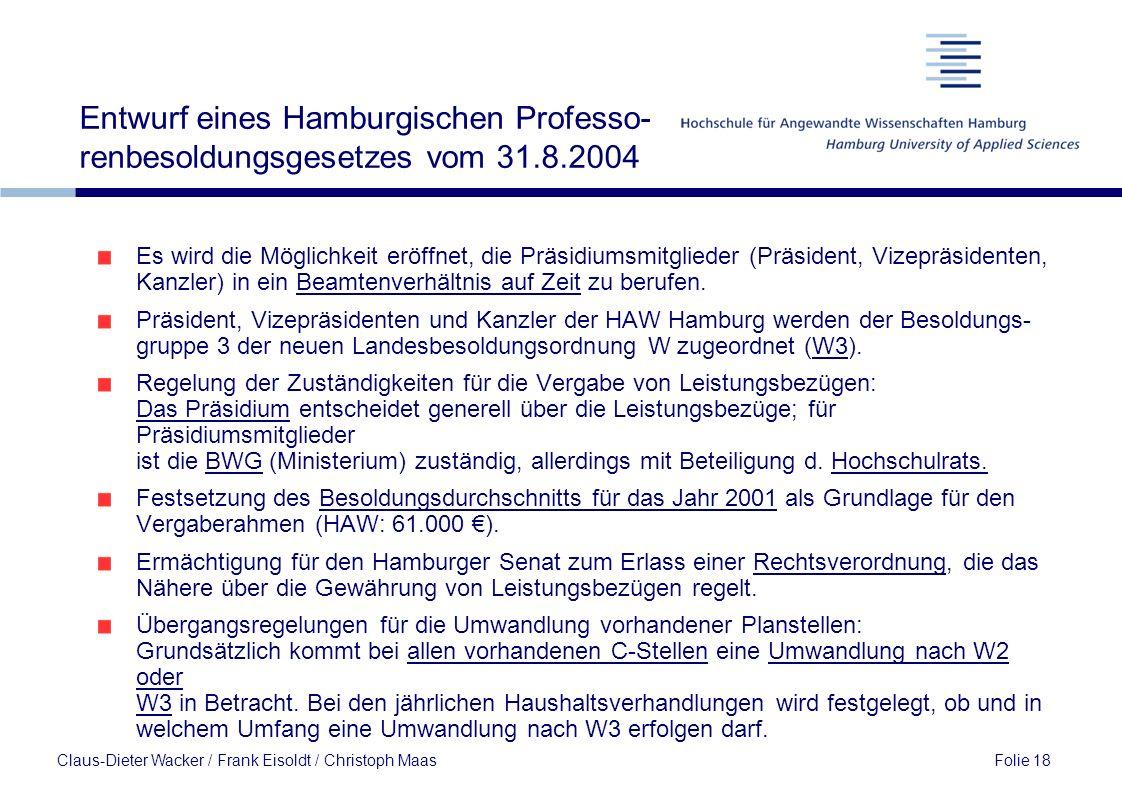 Entwurf eines Hamburgischen Professo-renbesoldungsgesetzes vom 31. 8