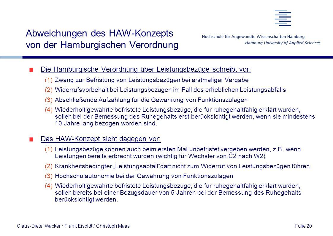 Abweichungen des HAW-Konzepts von der Hamburgischen Verordnung