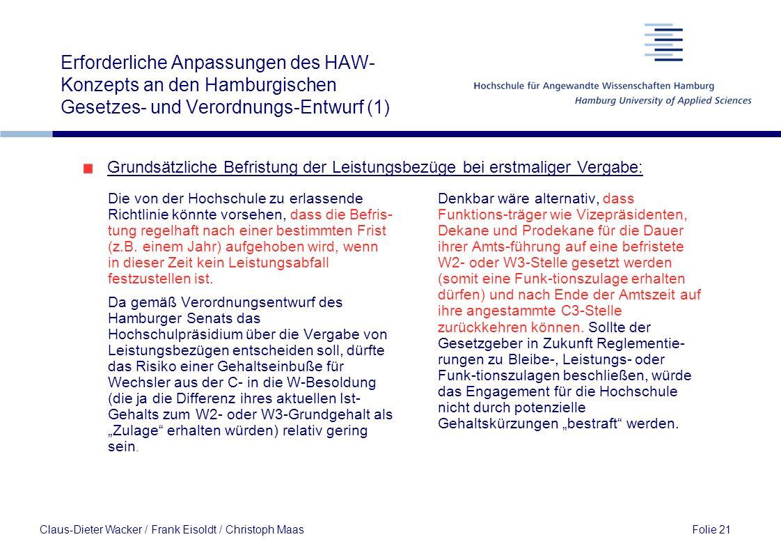 Erforderliche Anpassungen des HAW-Konzepts an den Hamburgischen Gesetzes- und Verordnungs-Entwurf (1)