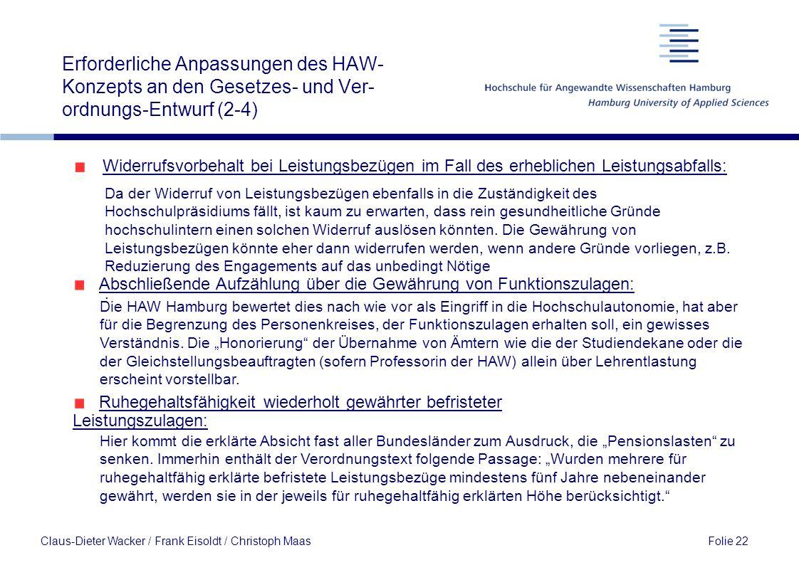 Erforderliche Anpassungen des HAW-Konzepts an den Gesetzes- und Ver-ordnungs-Entwurf (2-4)