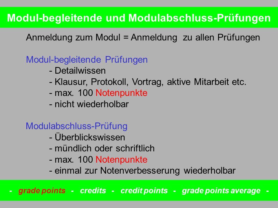 Modul-begleitende und Modulabschluss-Prüfungen