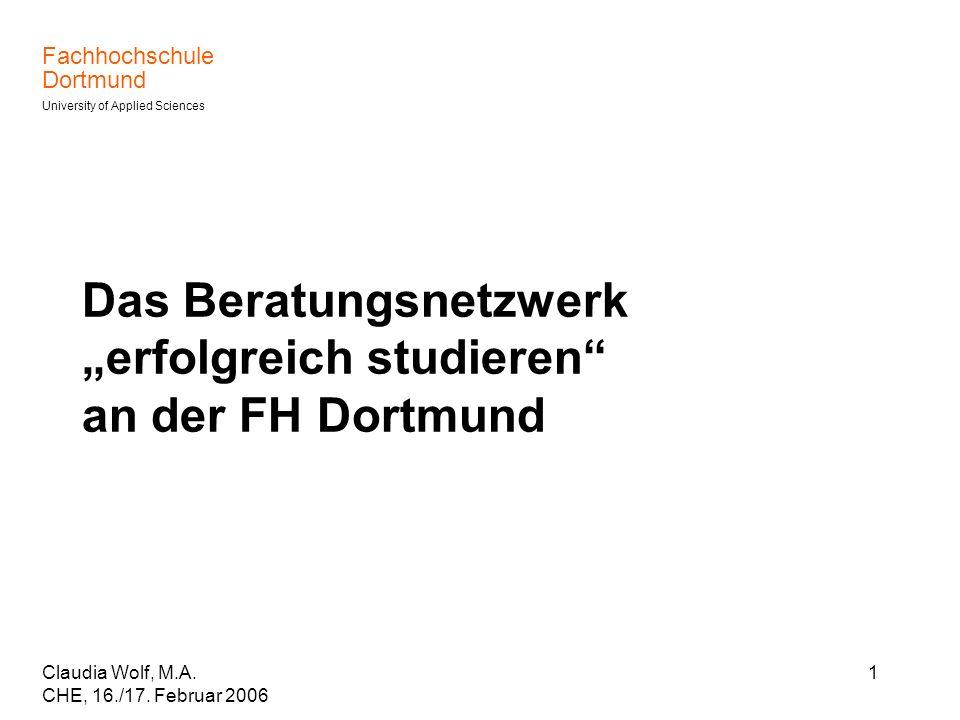 """Das Beratungsnetzwerk """"erfolgreich studieren an der FH Dortmund"""