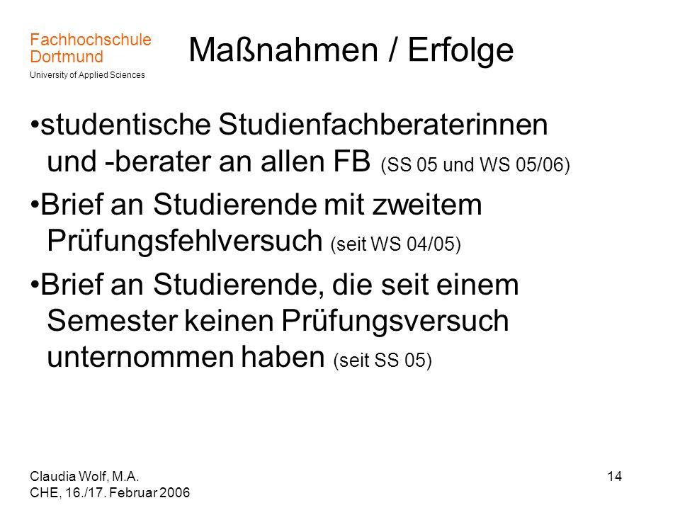 Maßnahmen / Erfolgestudentische Studienfachberaterinnen und -berater an allen FB (SS 05 und WS 05/06)