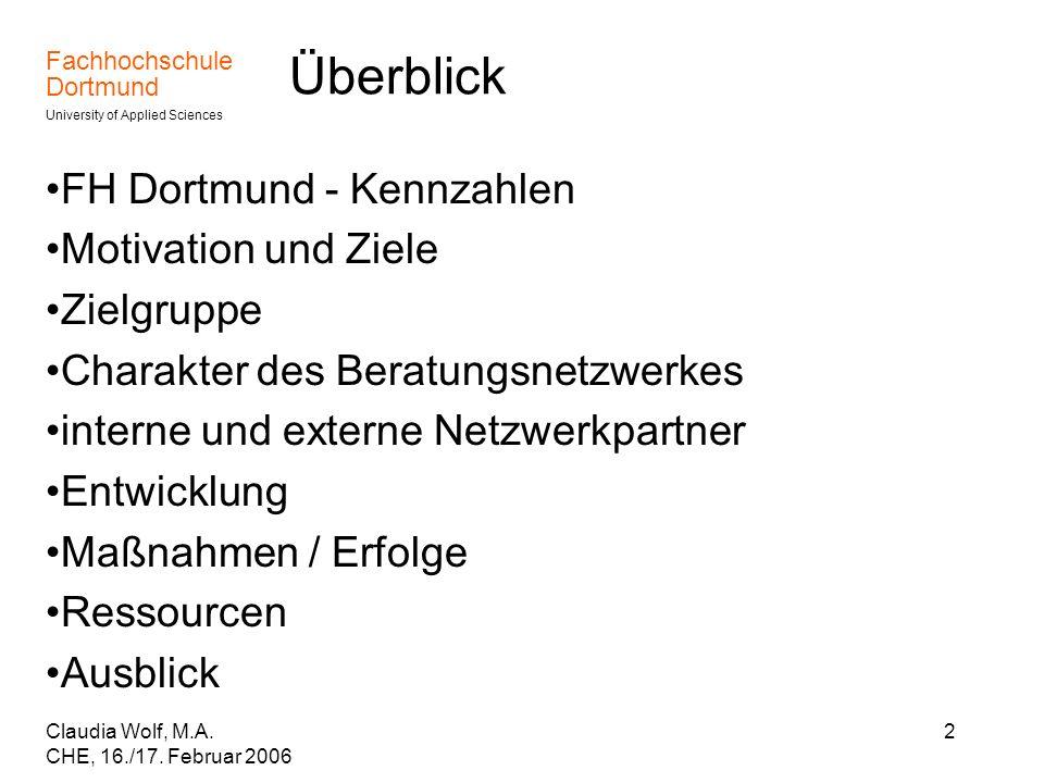 Überblick FH Dortmund - Kennzahlen Motivation und Ziele Zielgruppe